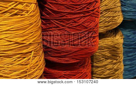 Skeins Of Threads Of Wool  For Sale In The Haberdashery