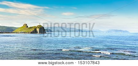 Sea view with Lighthouse. Japanese sea. Far East. Russia. Panorama