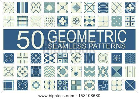 Set of 50 different vector geometric seamless patterns (tiling) of blue and ivory color. Endless texture can be used for pattern fills, web page background, surface and textile textures, wallpaper