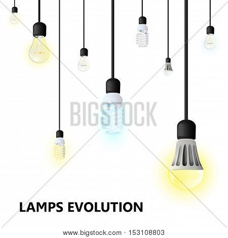 Hanging on cords light bulbs on a white background. LED lamp energy saving compact fluorescent lightbulb and Incandescent light bulb. warm white and cool white light. vector illustration. lamps evolution