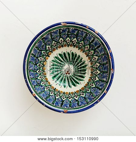 Traditional Central Asian Bowl On Plastering Plate