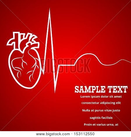 Heart pulse logo - medical wallpaper, vector illustration.Heart logo and pulse beat cardiogram logo red blur wallpaper.Pulse line heart monitoring.Medical wallpaper for medical site, cardiology clinic