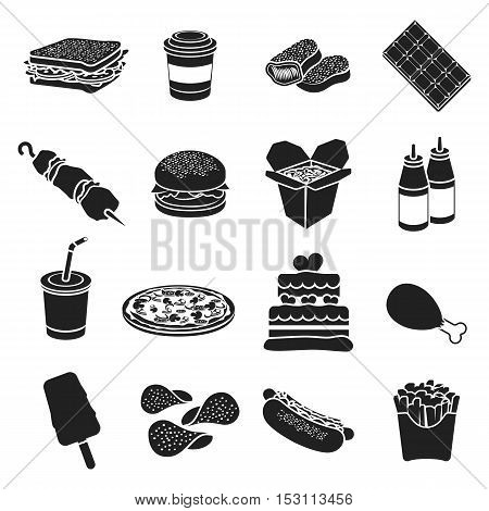 Fast food set icons in black style. Big collection fast food vector symbol stock