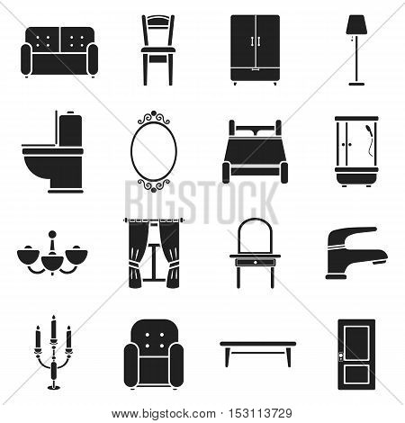 Furniture set icons in black style. Big collection furniture vector symbol stock