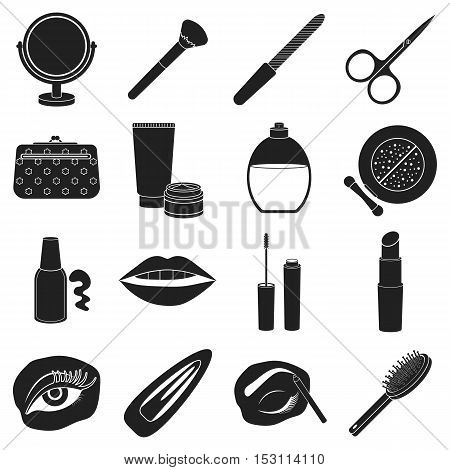 Make up set icons in black style. Big collection of make up vector symbol.