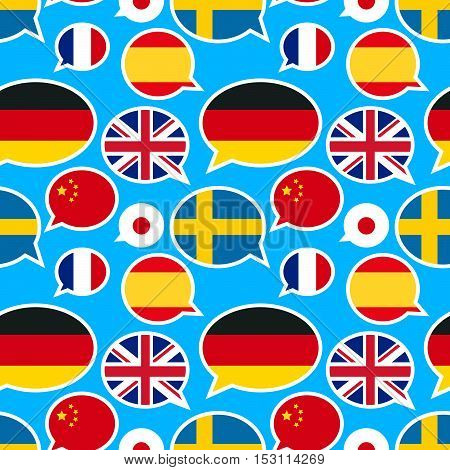 Speech bubbles with different flags on blue background, seamless pattern
