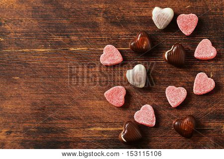 Chocolate candy hearts. Gift for a holiday. Date on Valentine's Day