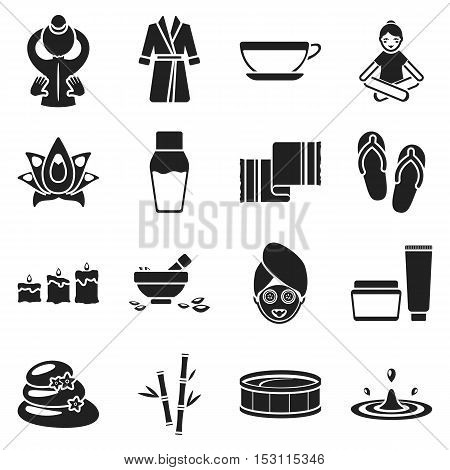 Spa set icons in black style. Big collection spa vector symbol stock