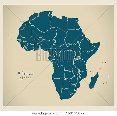 Modern Map - Africa continent with frontiers vector
