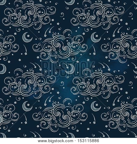 Vector seamless pattern with celestial bodies - moons stars and clouds. Boho hand drawn chic print textile design
