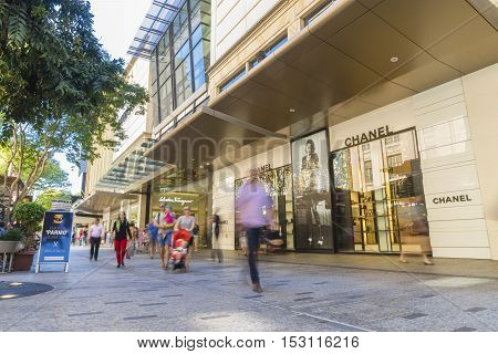 Brisbane, Australia - September 26, 2016: Shoppers in motion blur in Queen Street Mall, the most popular shopping and lifestyle precinct, in Brisbane.