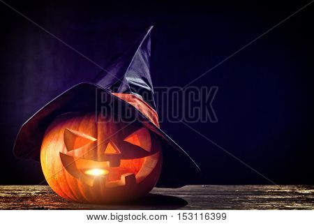 halloween pumpkin and  candle light