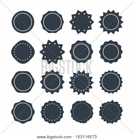 Set of dark gray guarantee labels in retro style isolated on white