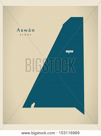 Modern Map - Aswan EG vector high res