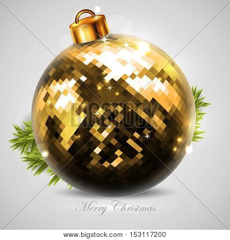Christmas card with golden Christmas tree ball