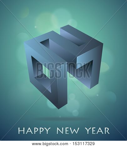 Happy New 2017 year with 3D emblem