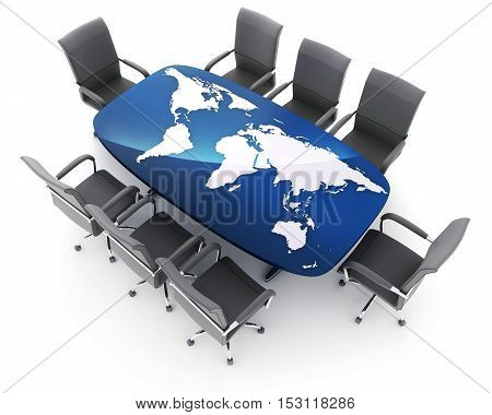 Conference room and world map on table (done in 3d rendering)
