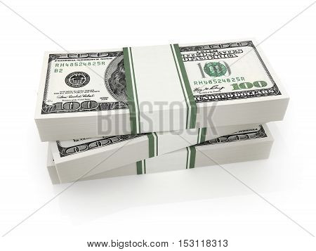 Many money on a white background (done in 3d rendering)