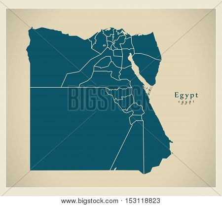 Modern Map - Egypt with governorates EG vector high res