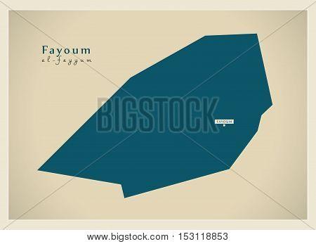Modern Map - Fayoum EG vector high res