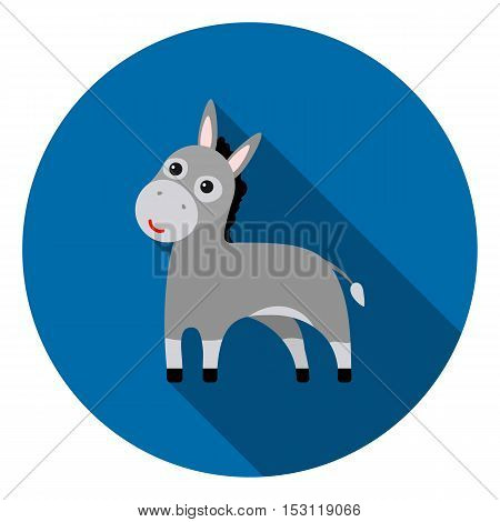 Donkey icon in flat style isolated on white background. Animals symbol vector illustration.