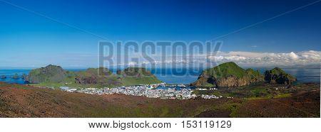 Panorama of Heimaey town Vestmannaeyjar archipelago Iceland