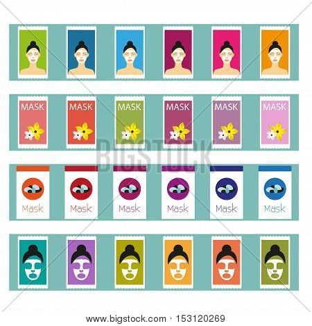 Cosmetic masks Vector illustration Shelf in shop with a variety of cosmetic masks Flat design