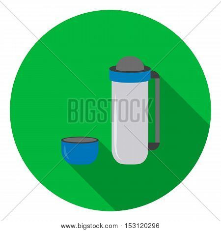 Thermos icon in flat style isolated on white background. Camping symbol vector illustration.
