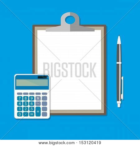Clipboard with empty sheet, calculator and pen. Calculation concept. Vector illustration in flat design