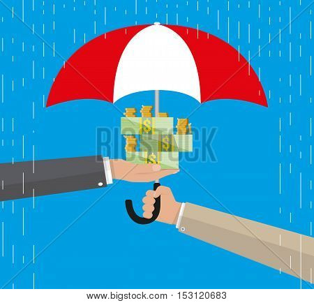Umbrella to protect money. money protection, financial savings concpet. vector illustration in flat style on blue background