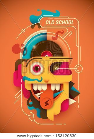 Conceptual illustration with abstract comical face. Vector illustration.