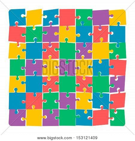 Jigsaw puzzle. Disconnected puzzle. Colorful vector illustration.