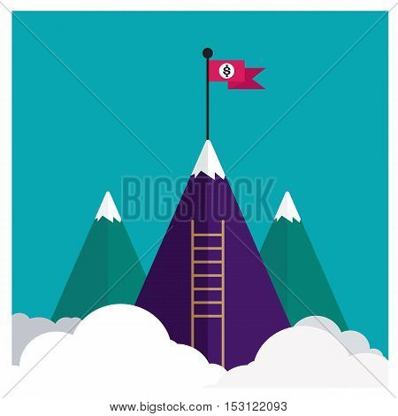 Vector flat flag on mountain. staircase Success illustration. Goal achievement. Business concept. Winning of competition or triumph design. our mission brochure title page template illustration
