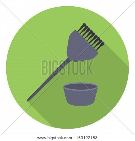 Hair coloring brush icon in flat style isolated on white background. Hairdressery symbol vector illustration.