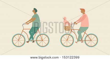 Cute cartoon gay couple riding a bicycle in vector. Funny flat characters man ride bikes with little dog in bike basket. Love family and pet dog illustration. Enjoy bicycle riding together.