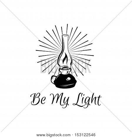 Be My Light. Retro Kerosene lamp. Vintage paraffin lamp. Doodle style. Isolated on white. Vector Illustration