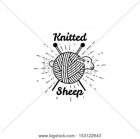 Sheep Logo. Vector illustration. logo for knitting. Yarn balls from wool and angora. Knitting wool.