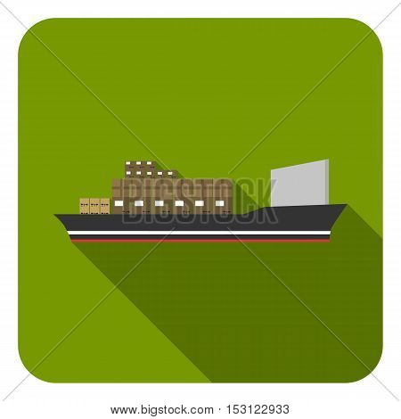 Cargo ship icon in flat style isolated on white background. Logistic symbol vector illustration.