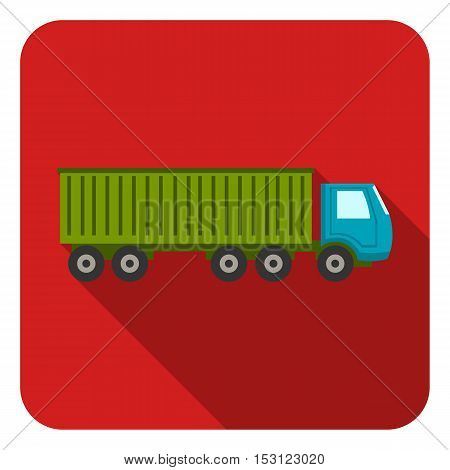 Truck delivery icon in flat style isolated on white background. Logistic symbol vector illustration.