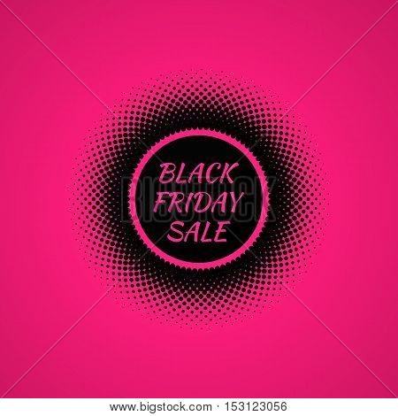 Black Friday Sale banner. Halftone effect vector illustration. Black dots on pink background. Design template with text Black Friday Sale.