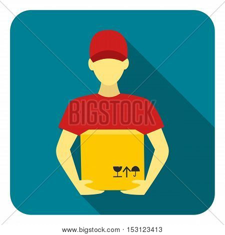 Courier icon in flat style isolated on white background. Logistic symbol vector illustration.