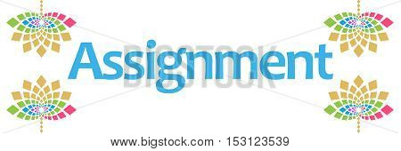 Assignment text written over abstract floral colorful background.