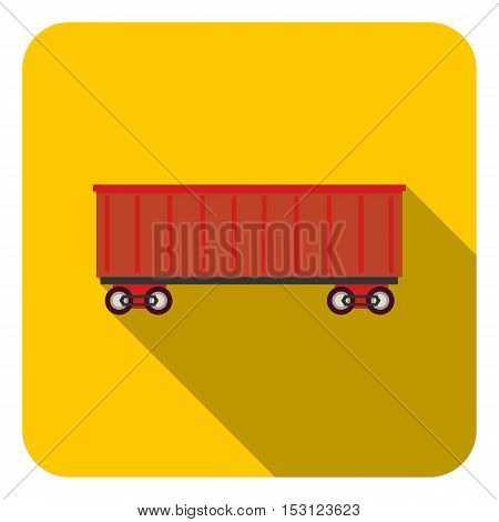 Railway carriage icon in flat style isolated on white background. Logistic symbol vector illustration.