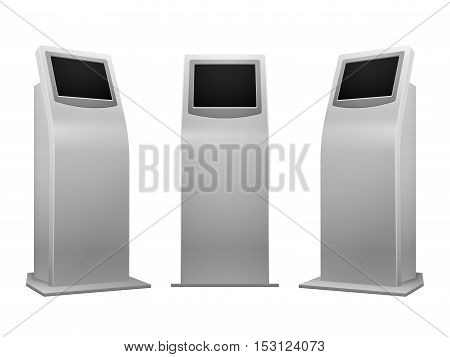 Electronic advertising stand display interactive kiosk with touchscreen vector illustration. Mockup terminal with info service