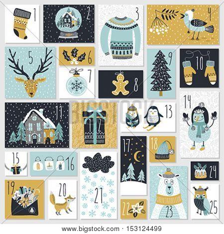 Christmas advent calendar, hand drawn style. Vector illustration.
