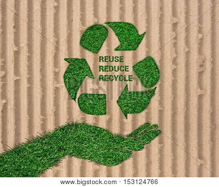 World Environment Day. let's save the world.ecology concept Reuse Reduce Recycle concept on paper craft die cut. Eco design - Green and Sustainable vector grass blurred background . poster