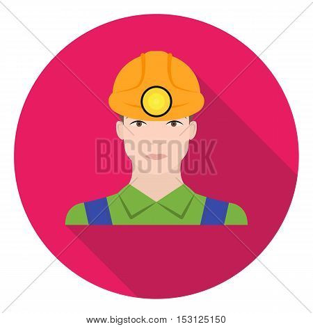 Miner icon in flat style isolated on white background. Mine symbol vector illustration.