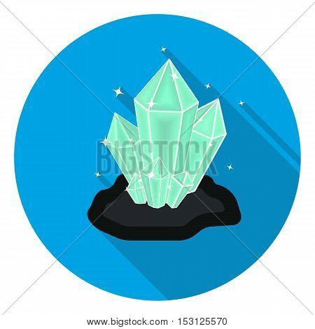 Crystals icon in flat style isolated on white background. Mine symbol vector illustration.