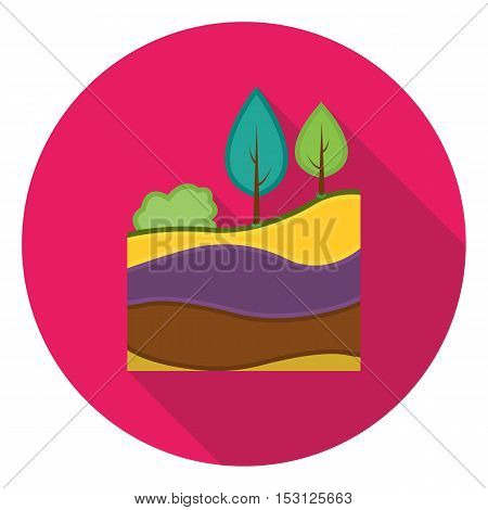 Layers of the earth icon in flat style isolated on white background. Mine symbol vector illustration.