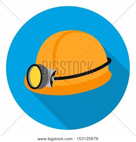Miner's helmet icon in flat style isolated on white background. Mine symbol vector illustration.